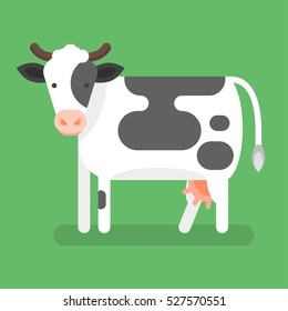 Vector flat style illustration of cow. Isolated on green background. Icon for web.
