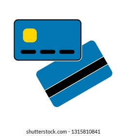 Vector flat style illustration of credit card. Back and front view. Isolated on white background. Icon for web