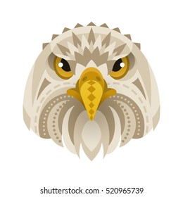 Vector flat style illustration of eagle face. Isolated on white background.