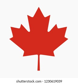 Vector flat style illustration of the famous red Canada leaf isolated on white background. Full editable and scalable high quality eps file available