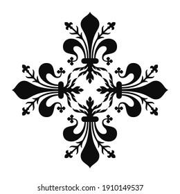 Vector flat style illustration of four fleur de lis making a Greek cross shape - Black cross isolated on white background