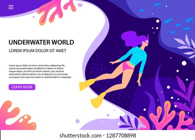 Vector flat style illustration. Girl diving under the sea. Underwater background with sea flora and fauna. Landing page