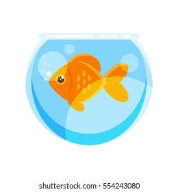 Vector flat style illustration of goldfish. Isolated on white background. Icon for web.