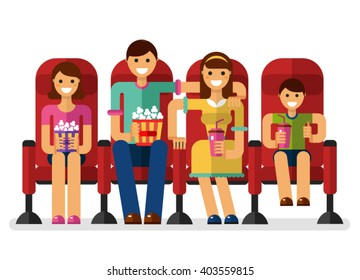 Vector flat style illustration of happy family in the cinema with popcorn and soda watching movie. People on the movie concept isolated on white background.