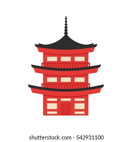 Vector flat style illustration of Japanese traditional building. Icon for web. Isolated on white background.