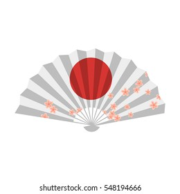 Vector flat style illustration of Japanese fan. Icon for web. Isolated on white background.