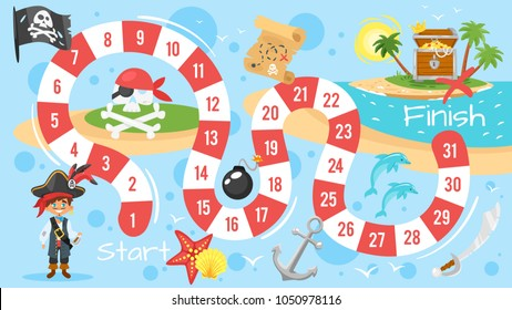 Vector flat style illustration of kids pirate board game template. For print. Horizontal composition with journey icons. Blue background.
