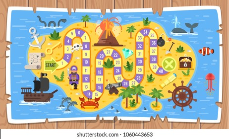 Vector flat style illustration of kids pirate board game template. Map on wooden background. For print. Horizontal composition