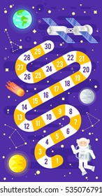 Vector flat style illustration of kids science and space board game. Template for print.