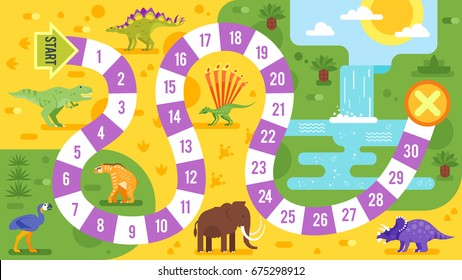 Vector flat style illustration of kids board game with dinosaurs template. For print.