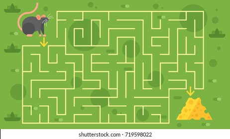 Vector flat style illustration of kids game  with mouse and cheese template. Children's maze. For print.