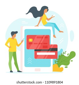 Vector flat style illustration of man and woman in front of a huge cell phone. Credit card icon on the screen of smartphone. Minimalism design with exaggerated objects. Online payment concept.