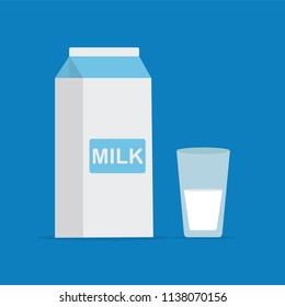 Vector flat style illustration of milk packing and a glass of milk on blue background. Icon for web. Vector stock illustration.