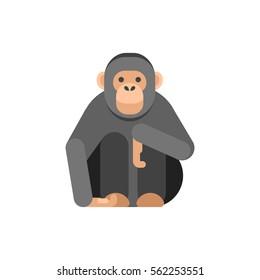 Vector flat style illustration of monkey. Icon for web. Isolated on white background.