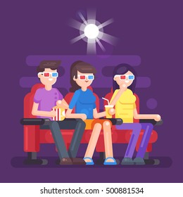 Vector flat style illustration of people watching 3d movie at the cinema.