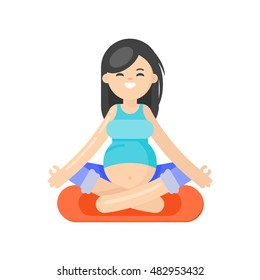 Vector flat style illustration of pregnant woman doing yoga. Girl in lotus position. Isolated on white background. Healthy lifestyle.