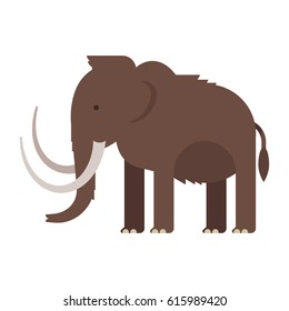 Vector flat style illustration of prehistoric animal - mammoth. Isolated on white background.
