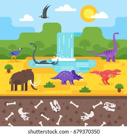 Vector flat style illustration of prehistoric landscape with dinosaurs.