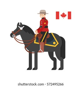 Vector flat style illustration of Royal Canadian Mounted Police. Icon for web. Isolated on white background.