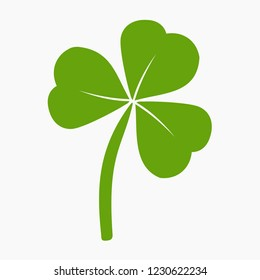Vector flat style illustration of St. Patrick's day green clover leaf (3 leafs) isolated on white background
