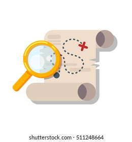 Vector flat style illustration of treasure map. Isolated on white background. Icon for web.