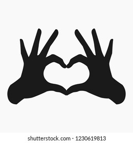 Vector flat style illustration of two human hands making a heart shape isolated on white background