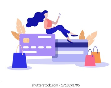 Vector flat style illustration, woman with smartphone makes online shopping sitting on a big credit card Credit card icon. Minimalism design with exaggerated objects. Online payment concept.
