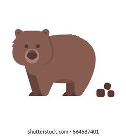 Vector flat style illustration of wombat. Icon for web. Isolated on white background.