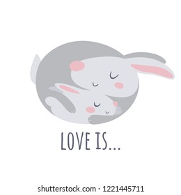 Vector flat style illustrationwoth love and rabbits