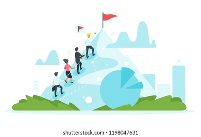 Vector flat style leader businessman climb the mountain cliff and help other business people to reach the goal at the top. Leadership and teamwork concept. Minimalism design with people silhouettes.