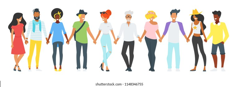 Vector flat style minimalism illustration of different people silhouettes standing in a row, holding hands of each other and smiling. Concept for multicultural and multiracial friendship.