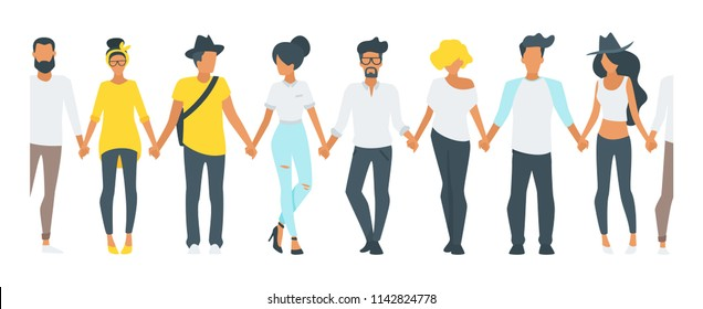 Vector flat style minimalism seamless illustration of different people silhouettes standing in a row and holding hands of each other. Concept for multicultural and multiracial friendship.