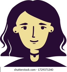 Vector flat style portrait of a gothic, hipster, beatniks style girl with a medium wavy hairstyle
