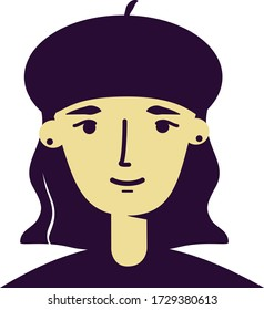 Vector flat style portrait of a gothic, hipster, beatniks style girl with a medium wavy bob hairstyle with beret hat