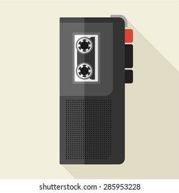 Vector flat style retro dictaphone icon. Eps10