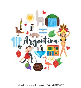 Vector flat style round composition of Argentina national cultural symbols. Isolated on white background.