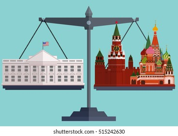Vector flat style scales. The White House Washington on one side and the Moscow Kremlin, St. Basil's Cathedral on the other.The conflict between America and Russia.  Vector illustration