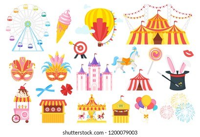 Vector flat style set of amusement park and carnival fun symbols: masquerade mask, Ferris wheel, carousel. Isolated on white background. Funfair theme icon for web.