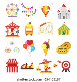 Vector flat style set of amusement park fun icons. Isolated on white background. Icon for web.