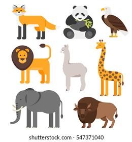 Vector flat style set of animals. Lion, panda, fox, elephant. Icon for web. Isolated on white background.