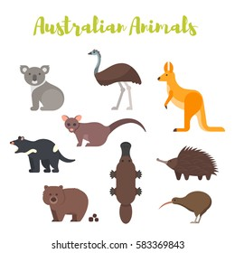 Vector flat style set of Australian animals. Icon for web. Isolated on white background.