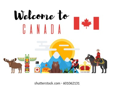 Vector flat style set of Canadian national cultural symbols. Welcome to Canada template for banner or poster for tourist. Isolated on white background.