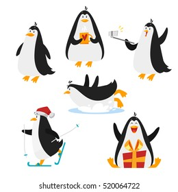 Vector flat style set of christmas penguin. Isolated on white background. Holiday greeting card template.