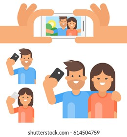 Vector flat style set of happy man and woman taking selfie.