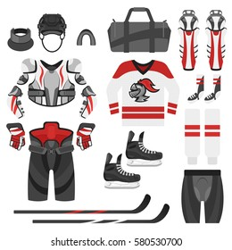 Vector flat style set of hockey equipment. Icon for web. Isolated on white background.
