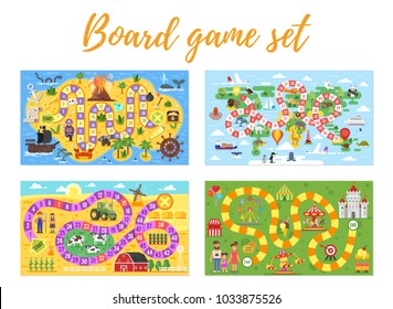 Vector flat style set of kids board game; pirate, travel, farm and amusement park theme game. For print. Horizontal composition.