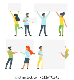 Vector flat style set of people silhouettes in different poses holding empty boards with copyspace. Minimalism design. White background.