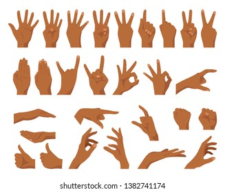 Vector flat style set of various hands gestures. Afro American dark skin color. Different signs and emotions. Isolated on white background.