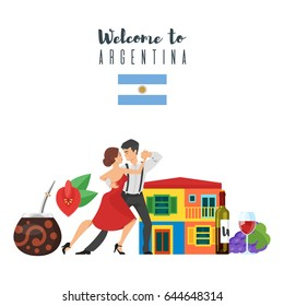 Vector flat style set of Welcome to Argentina template for web banner or poster for tourist. Argentina national cultural symbols. Isolated on white background.