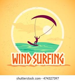Vector flat summer holiday illustration. Vintage, retro style. Surfer silhouette. Human figure. Extreme sport, summer resting. Wind surfing badge, label design template.